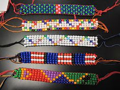"""Wampum Belts Using Pony Beads - had to get creative making my own loom and sewing on a """"headband,"""" but they turned out great!  ch"""
