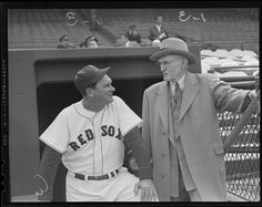 manager Mike Higgins with former Red Sox pitcher Cy Young.: 1955