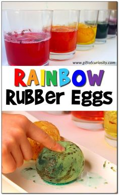 Making rainbow rubber eggs is easy peasy. But these eggs aren't just beautiful and fun to play with, they can be used to discuss the science of chemical reactions as well! Your kids will love this fun STEAM activity. Plus, it pairs nicely with both St. Patrick's Day (rainbows!) and Easter (eggs!). #STEAM #rubbereggs #Easter #StPatricksDay #GiftOfCuriosity #STEAMEducation || Gift of Curiosity Easter Activities For Kids, Creative Activities For Kids, Preschool Learning Activities, Rainbow Activities, Preschool Ideas, Rubber Egg, Steam Activities, Indoor Activities, Kid Picks