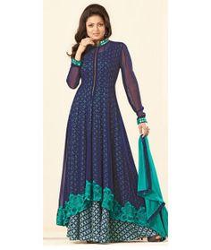 Musty Blue Georgette Anarkali Suit With Dupatta.