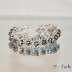 """Bracelet perle de cristal argenté """"personnalisable"""""""