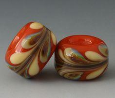 Marbled Pair  2 Handmade Lampwork Beads  Cream Orange by outwest, $9.00