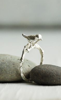 BIRD RING Adjustable Silver Ring Woodland Ring