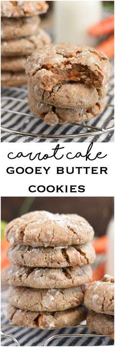 These Carrot Cake Gooey Butter Cookies only take 6 ingredients. They're extra moist, soft and so much easier than making carrot cake. Carrot Cake Cookies, Cake Mix Cookies, Yummy Cookies, Cupcakes, Gooey Butter Cookies, Cream Cheese Cookies, Cookies Et Biscuits, Kid Desserts, Cookie Desserts