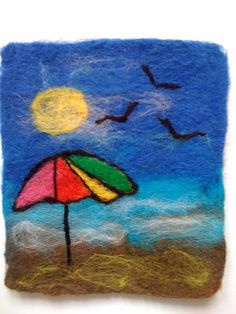 Needle felted beach scene ideal for framing - Made to Order
