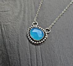 Blue Chalcedony Oval Necklace blue boho by SaruchiRJewellery