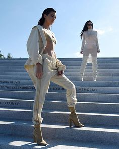 Kendall + Kim at Kanye's Yeezy Season 4 Fashion Show in New York today 😍