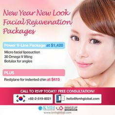 Special Price Offer by KMH Power V-Line Package at $1,420 All these three! 1) Micro facial liposuction 2) 30 Omega V lifting 3) Botulax for angles Plus, Restylane filler injection at $415 Consult with Ms. Jane Jane, Korea Medical Hub +82-10-7237-8001 / hello@kmhglobal.com Filler Injection, Facial Rejuvenation, Facial Massage, Liposuction, Plastic Surgery, Angles, Omega, Ms