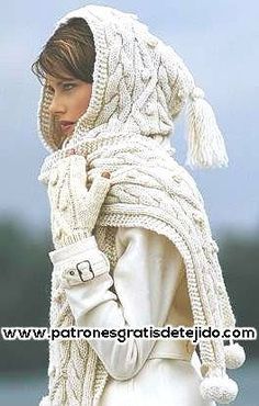 53 Ideas For Crochet Shawl With Hood Cable Knit Diy Tricot Crochet, Crochet Mittens, Crochet Shawl, Crochet Stitches, Knitted Hats, Knitting Videos, Arm Knitting, Hooded Scarf Pattern, Mode Outfits