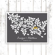 Guest Book Tree Branch for 100 Guests - Art Print Poster - Tree branch Guest Book in Grey-Signature Tree
