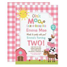 2nd Birthday Party For Girl, Girl Birthday Themes, Birthday Ideas, Third Birthday, Farm Animal Birthday, Farm Birthday, Barnyard Party, Farm Party, Birthday Party Invitations