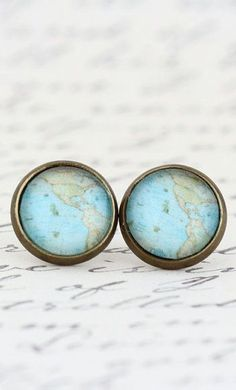 Map Stud Earrings