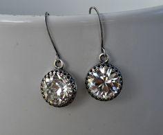 Swarovski Earrings Bridesmaid Bridal Retro Wedding Earrings, Victorian Style Antique Silver Bezel Setting Earring, Bridesmaid Jewelry by JewelrybyXinyiMartin on Etsy