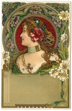 1903 Art Nouveau Postcard Label / Journal Box