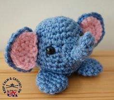 """Doodle Zoo 4: Ezra the Elephant ~ 3"""" high ~ great for BEGINNERS ~ FREE - CROCHET"""