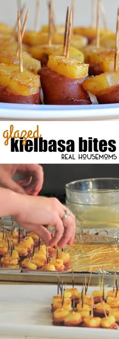 These Glazed Kielbasa Bites are the perfect make ahead, bite-sized appetizer. It has a sweet and salty flavor that people can't stop eating! via @realhousemoms