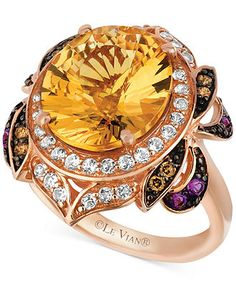 Le Vian 14k Rose Gold Ring, Multi-Stone (6-3/4 ct. t.w.) and Chocolate Diamond (1/8 ct. t.w.) Oval- and Round-cut Ring - Rings - Jewelry & W...