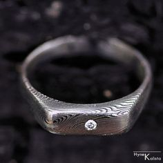 """Engagement Ring or Wedding Ring With Diamond, Womens ring - Hand made stainless damascus steel ring - """"Prolili"""" with 1.7mm diamond"""