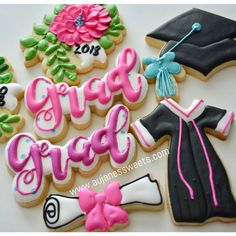 DIY sugar cookie kits, cookie classes, custom cakes and more! Crazy Cookies, Iced Cookies, Cute Cookies, Easter Cookies, Royal Icing Cookies, Cookie Icing, Graduation Food, Graduation Cupcakes, Chocolates