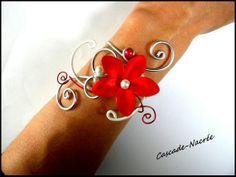 ˚•●๑ LILOU parure mariage rouge blanc fleurs de soie
