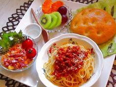 お子様用ランチ!高野豆腐入りミートソーススパゲティー♪ by ハッピー / お子様用のランチ!高野豆腐は栄養満点!ミートソーススパゲティーに加えていただきます♪ / Nadia