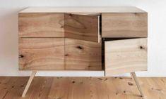 Dieses feine Handwerksstück besticht durch die nur 7 mm breite Sichtkante de Korpus in Esche. Im reizvollen Zusammenspiel mit den rohen Kirschtüren erinnert es mit seinen zierlichen Füßen an den Lifestyle der 60er Jahre. Credenza, Cabinet, Storage, Design, Furniture, Home Decor, Art, Carpentry, Timber Wood