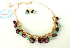 Garnet and Jade Gemstones necklace/earrings