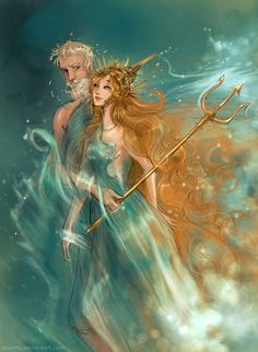 Mythological god and goddess of the oceans and seas, I had fun taking an old drawing of mine (just their faces) and making a full portrait of both of them for a friend. I hope you like it! (There a...