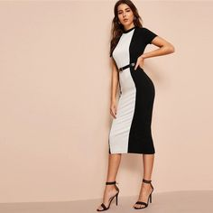 Black White Colorblock Bodycon Pencil Midi Dress Without Belt Women Stand Collar Weekend Casual Long Sheath Dress Color Black Size XS Bodycon Outfits, Bodycon Dress, Sheath Dress, Trendy Collection, Dress Collection, Club Dresses, Dresses For Work, Spring Decoration, Clubwear Dresses