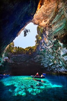 Melissani Cave, Kefalonia, Greece - Places I'd Like to Go Places Around The World, Oh The Places You'll Go, Places To Travel, Places To Visit, Vacation Destinations, Dream Vacations, Vacation Spots, Vacation Travel, Disney Vacations