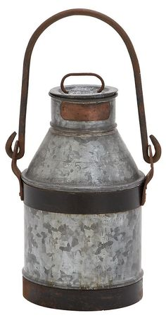 "One Kings Lane - Cottage Charm - 13"" Galvanized Milk Can w/ Handle"