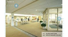 Hospital lobby, we use mineral fiber ceiling and glass partition, making the space simple and transparent