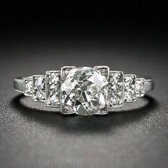 1.00 Carat Old Mine-Cut Diamond and Platinum Art Deco Engagement Ring - 10-1-6309 - Lang Antiques