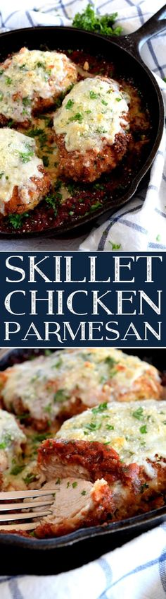 Lower Excess Fat Rooster Recipes That Basically Prime Skillet Chicken Parmesan - Lord Byron's Kitchen Skillet Chicken Parmesan, Chicken Parmesan Recipes, Baked Chicken, Skinny Chicken Parmesan, Chicken Broccoli, Chicken Pasta, Cooking Recipes, Healthy Recipes, Healthy Food