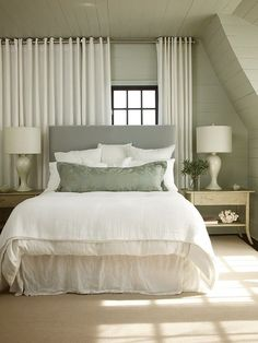 Ideas Bedroom Curtains Behind Bed For 2019 When considering to room interior decoration Window Behind Bed, Curtains Behind Bed, Window Bed, Hanging Curtains, Wall Of Curtains, White Curtains, Window Wall, Trendy Bedroom, Cozy Bedroom