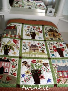 the fresh colors are nice Wool Quilts, Applique Quilts, Primitive Quilts, Blackbird Designs, Country Quilts, Flower Quilts, Basket Quilt, Sampler Quilts, House Quilts