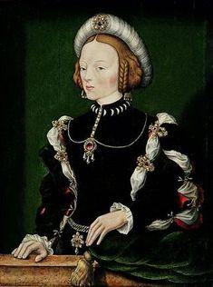 William Scrots (active 1537 - Portrait of Isabella of Portugal' circa 1550 - Museu Nacional de Poznan, Polónia