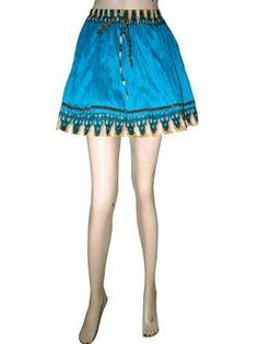 Bohemian Mini Skirt Gypsy Crinkle Cotton Blue Skirt for Women Gift Idea Mogul Interior,http://www.amazon.com/dp/B00AJF9J44/ref=cm_sw_r_pi_dp_f1lWqb0Y864B9TJ4