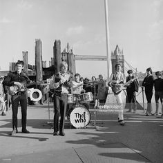 John Entwhistle, Roger Daltrey, Keith Moon and Pete Townshend perform on Dick Clark's 'Where the Action Is' TV show on The Tower Bridge on March 18, 1966 in London, England.