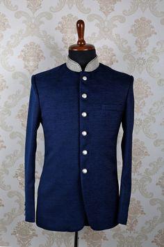 #Blue italian #opulent slim fit #suit with mandarin collar -ST389