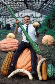 """""""Giant vegetable legend Bernard Lavery and some of his produce in 1995"""" So many LOLS."""