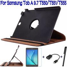 Купить товар4 в 1 стенд складной PU кожаный чехол для Samsung Galaxy Tab 9.7 T550 T555 планшет + бесплатный защитник + OTG + стилус в категории Чехлы и защита экранана AliExpress.   4 в 1 вращающийся искусственная кожа чехол для галактики в  9.7 T550 T551 T555 планшет + бесплатная протектор экрана +