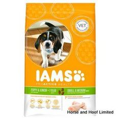 Iams Puppy Junior Small Medium Breed 3kg Iams Puppy Junior Small Medium Breed Quality ingredients and optimal levels of calcium vitamins and minerals promotes healthy growth and strong teeth, muscles and bones.