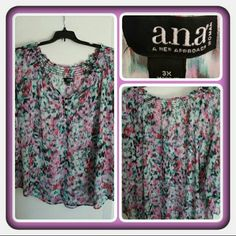 💜 NWOT Woman's Sheer Spring Top Size 3X 💜 Brand New Never Worn Woman's Top From A.N.A Size 3X. This Is Perfect For Spring & Summer It Does Need A Tank Underneath Because It's Sheer. Excellent Condition. Retails For Roughly: $36 + Taxes 🚫 TRADES 🚫 PAYPAL 🚫 LOWBALLING PRICE IS FINAL 💜 a.n.a Tops Blouses
