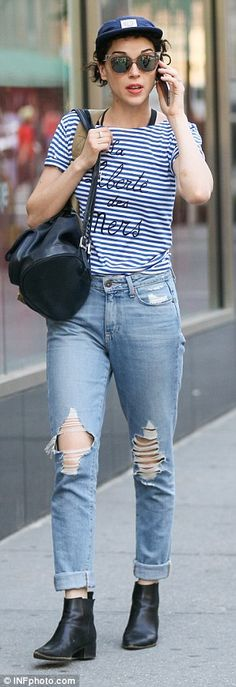 Sassy in stripes: The singer wore a cute T-shirt and ripped jeans for the outing