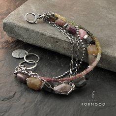 oxidized sterling silver and tourmaline bracelet