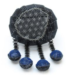Dana Hakim Brooch: My Four Guardian Angels - the blue series, 2011 Iron Nets, Paint, Lacquer, Reflective Light Threads 7 x 5 x 3 cm Phot...