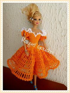 #Doll #Barbie #Laranja  #Cléa5 #Muñeca #Crochet #Vestido #Dress #RaquelGaucha