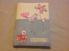'Little Bird' removable note book cover in muted nostalgic prints. Hand sewn by 'Love Sewing'.