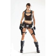 Make your own DIY Lara Croft Cosplay Costume from the Tomb Raider movie and Tombe Raider video games. Tomb Raider Outfits, Tomb Raider Costume, Tomb Raider Video Game, Tomb Raider Movie, Lara Croft Costume, Lara Croft Cosplay, Video Game Costumes, Thigh High Boots Heels, Blue Vests